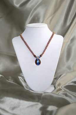 Orange-Blue Glass Weave Necklace