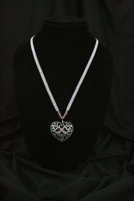 Steel and Pink Heart Necklace