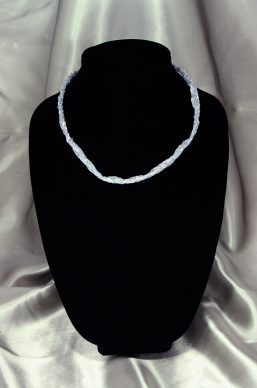 Silver Seed/Bugle Woven Tube Necklace