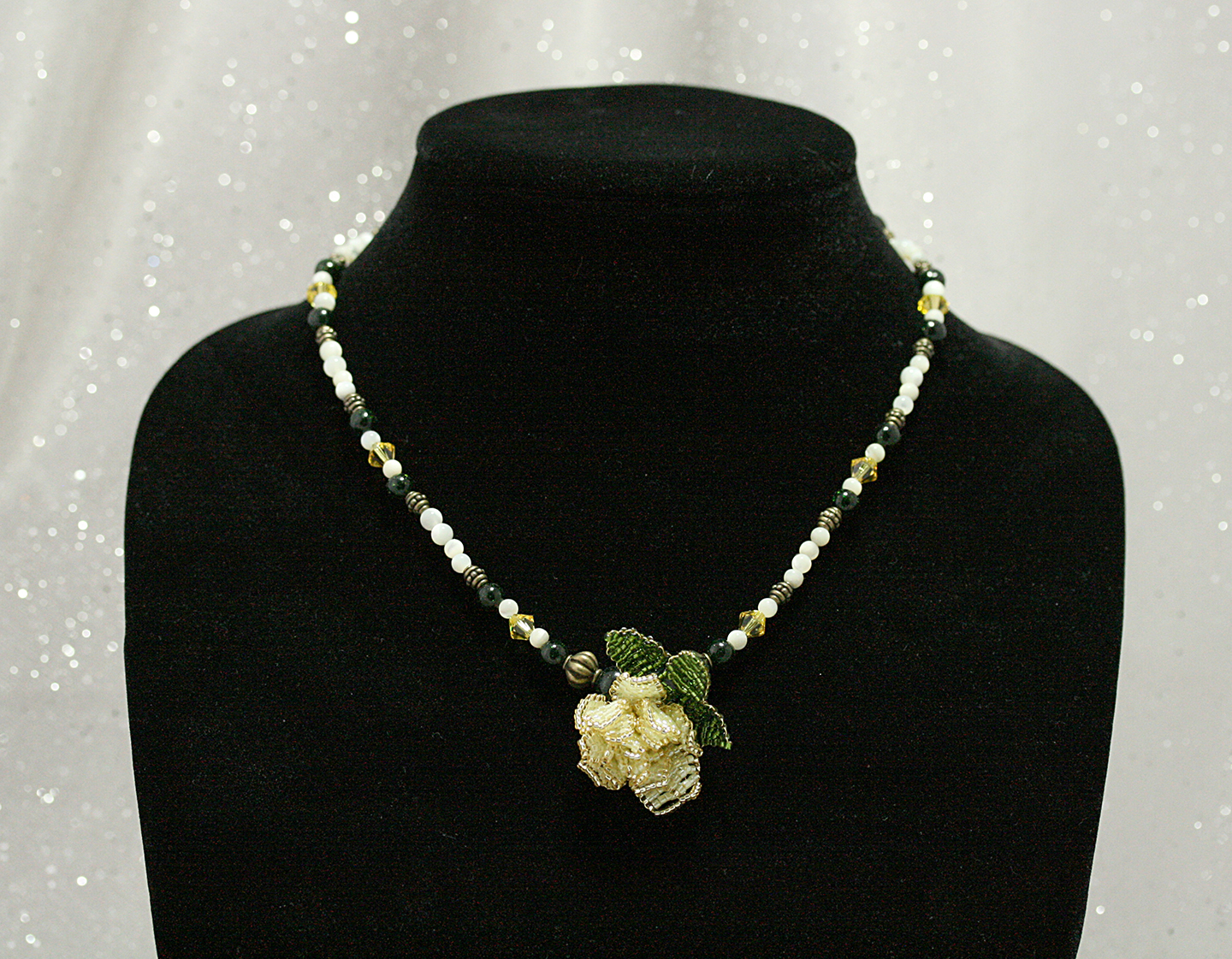 Yellow Rose with Green Goldstone