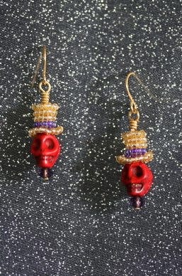 Red/Gold Top-Hat Skull Earrings