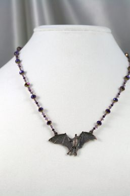 Purple-Gold Crystal Bat Necklace