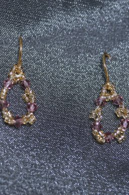 Gold and Purple Loop Earrings