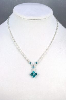 Silver & Blue Crystal Necklace