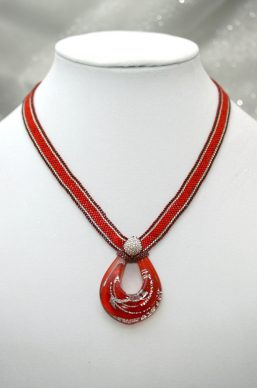 Red & Silver Art Glass Necklace