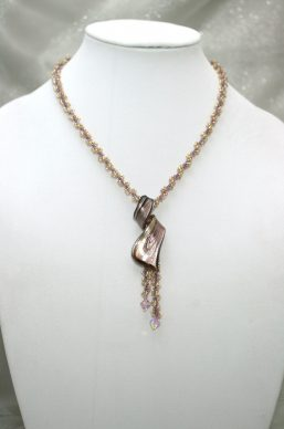 Purple-Gold Spiral Pendent Necklace