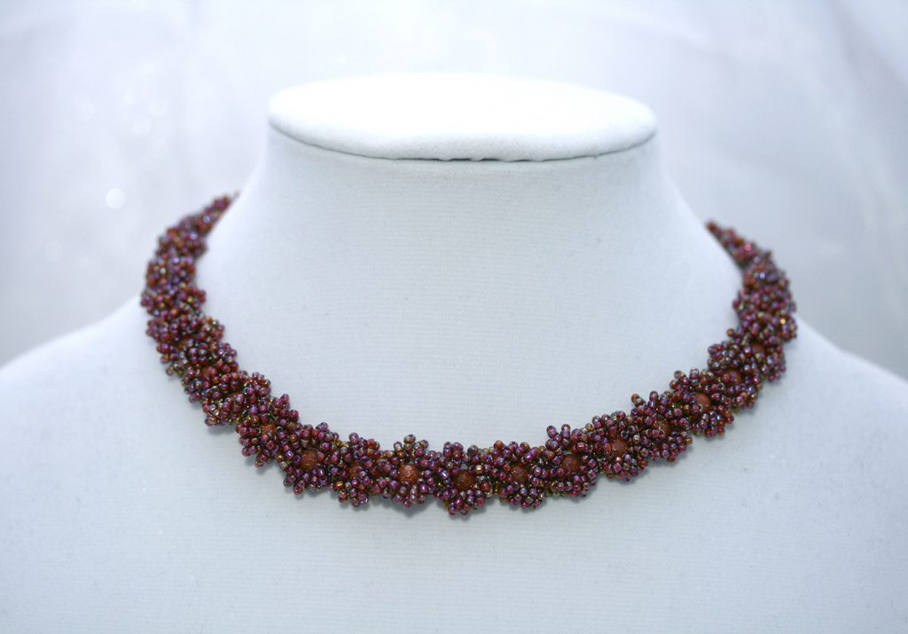 Burgundy Goldstone Flower Necklace