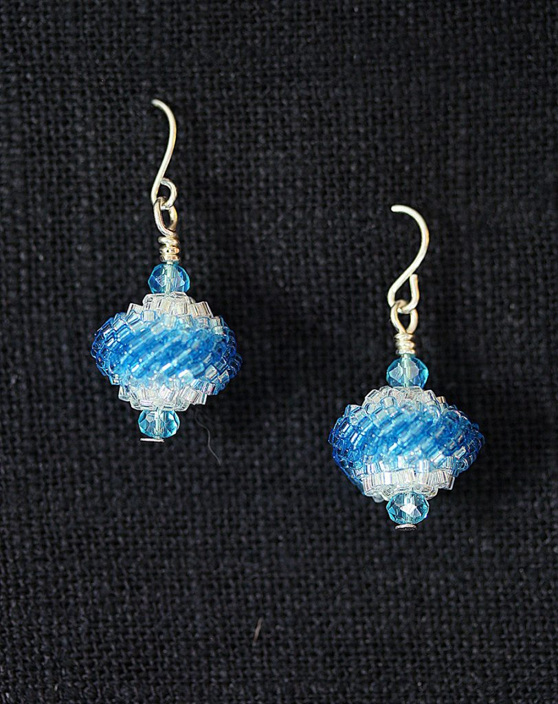 Blue/White Beaded Bead Earrings