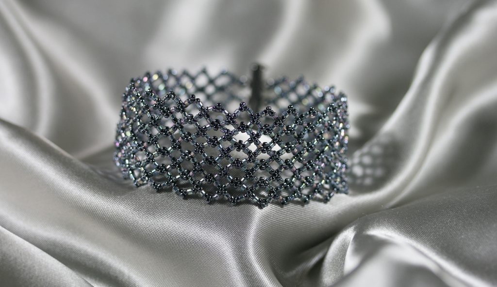"""Double Diamond"" Netted Gray Cuff Bracelet"