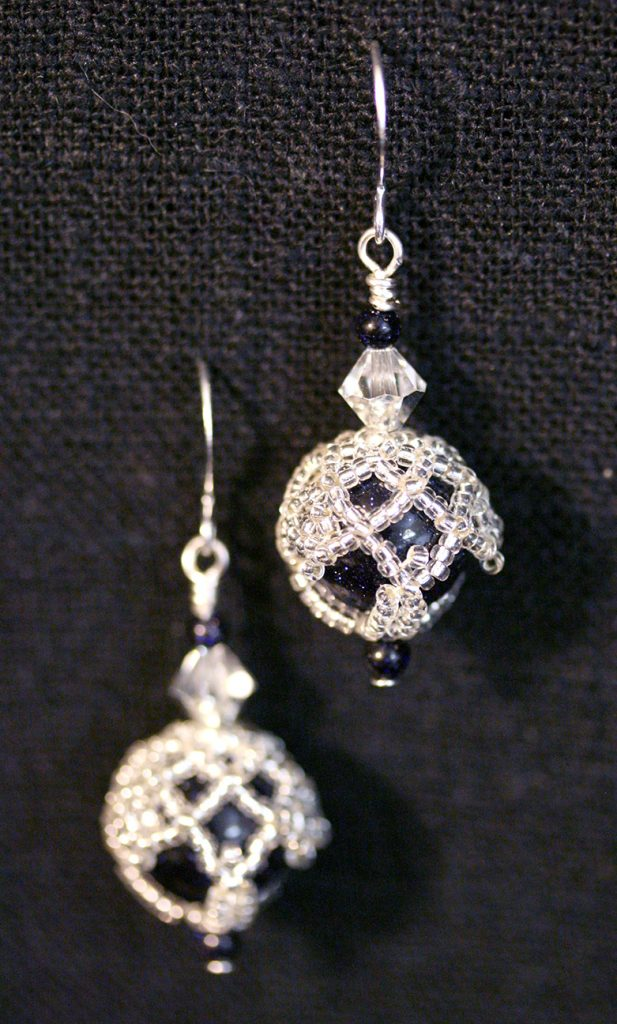 Blue Goldstone Silver Netted Earrings