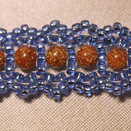 Blue and Goldstone Woven Bracelet 2