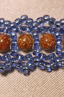 Blue and Goldstone Woven Bracelet