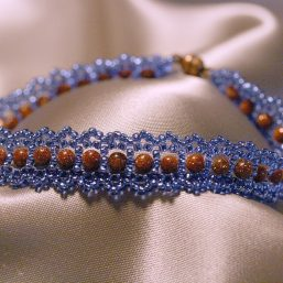 Blue and Goldstone Woven Bracelet 1