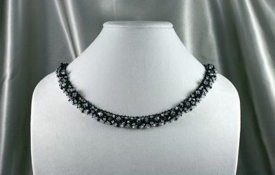 Black & Silver Crystal Necklace 4