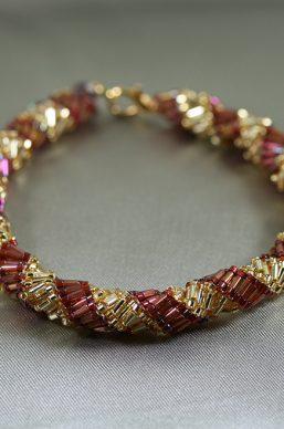 Gold Purple Spiral Bracelet