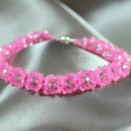 Pink & Pink Crystal Bracelet 1