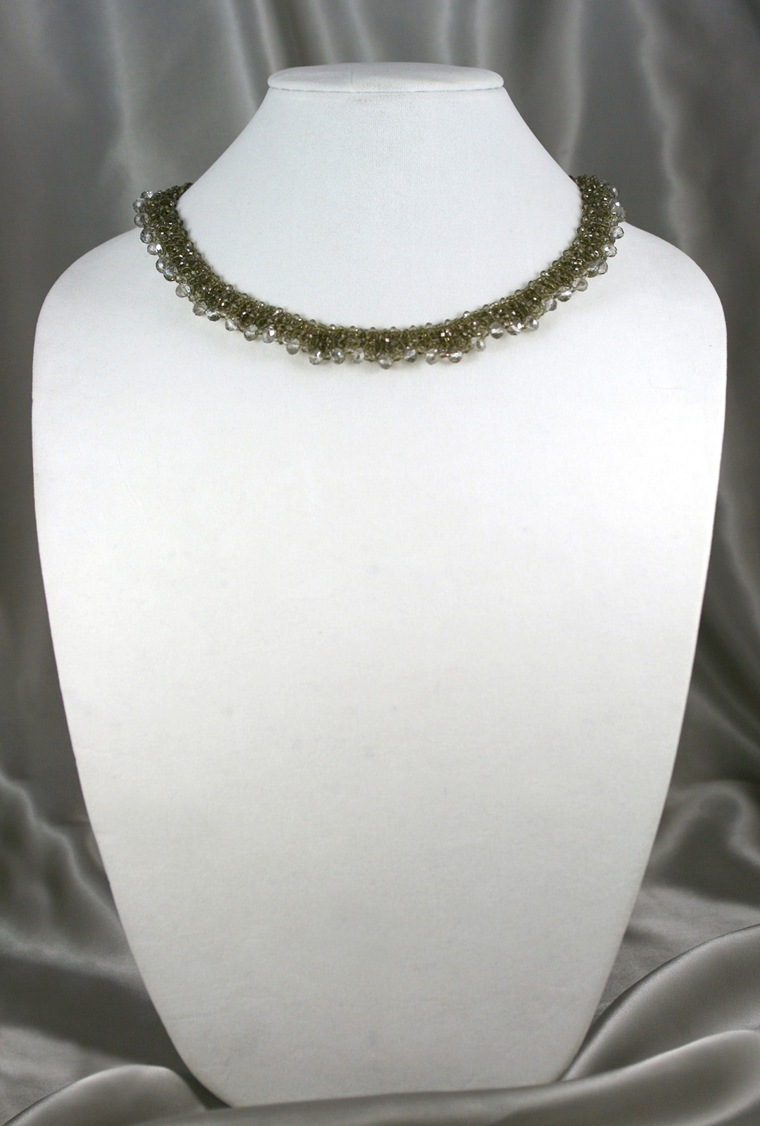 Champagne Crystal Woven Necklace
