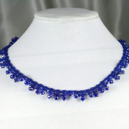 Royal Blue Crystal Lace Necklace 2