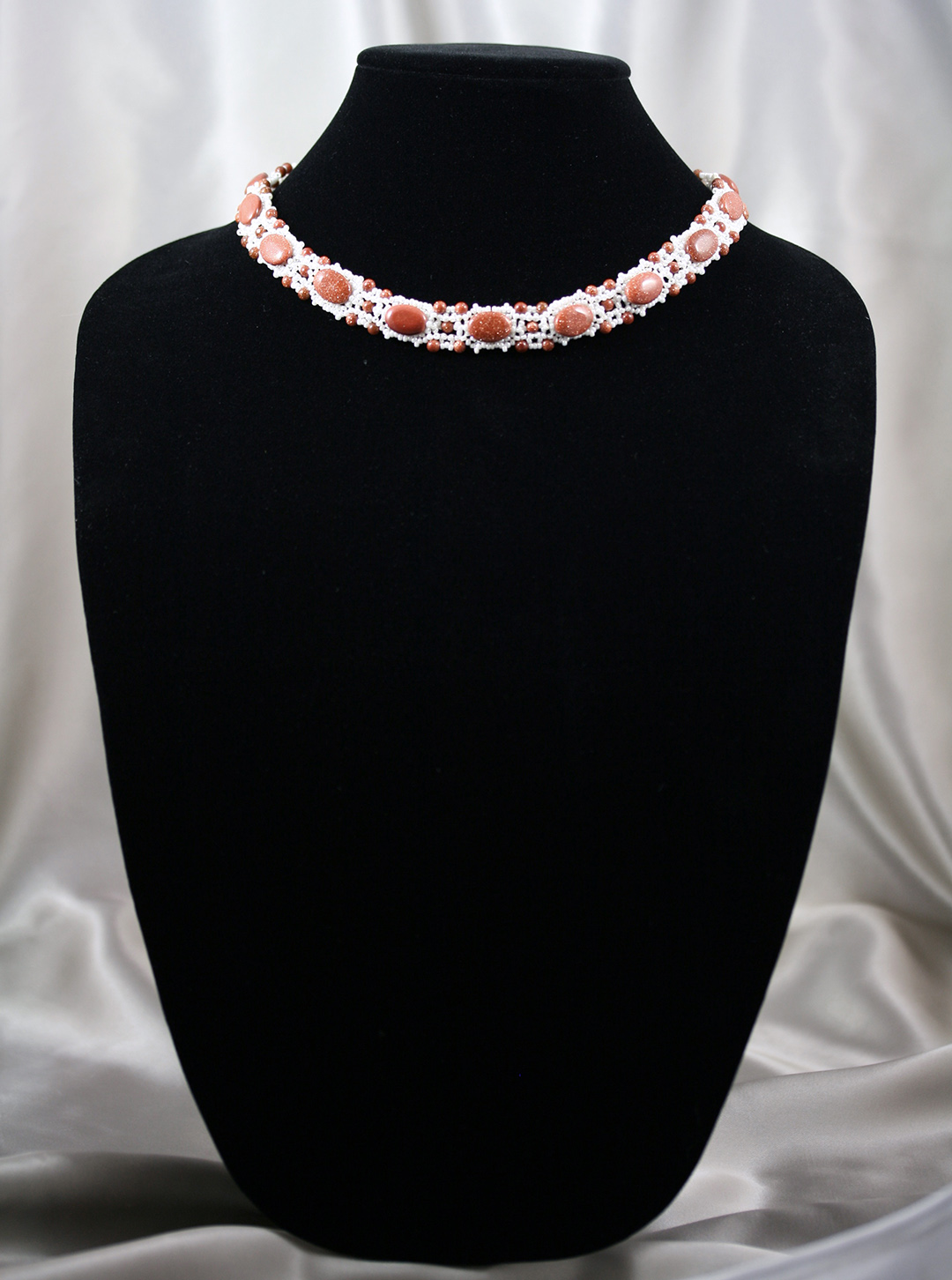 Goldstone and Cream Pearl Necklace