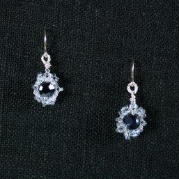 Silver & Jet Black-Blue Flower Earrings 1