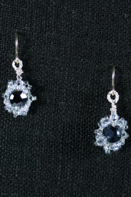 Silver & Jet Black-Blue Flower Earrings