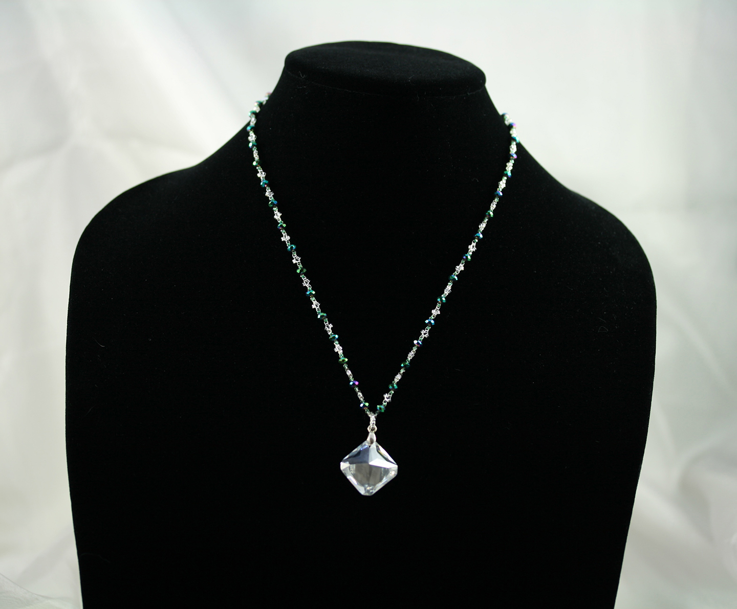 Green and Silver Crystal Necklace