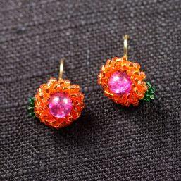 Pink and Orange Seed Bead Flower Earrings 1