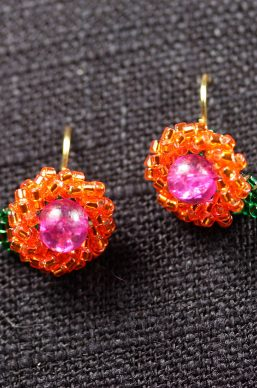 Pink and Orange Seed Bead Flower Earrings