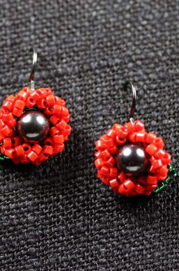Red and Magnetite Seed Bead Flower Earrings