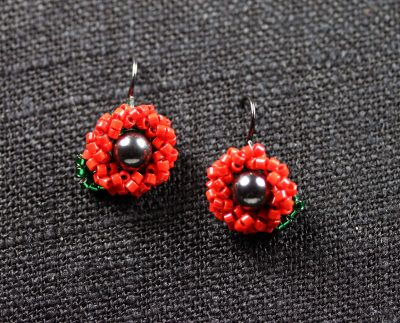 Red and Magnetite Seed Bead Flower Earrings 1