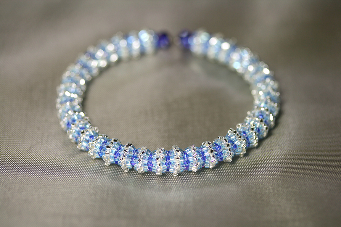"""""""Engage"""" Silvery-Blue Memory Wire Bracelet"""