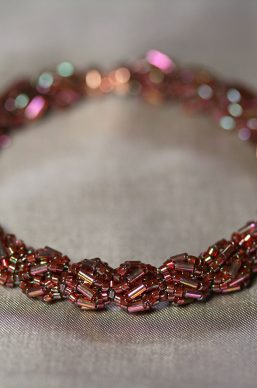 """Engage"" Garnet Puff Memory Wire Bracelet"