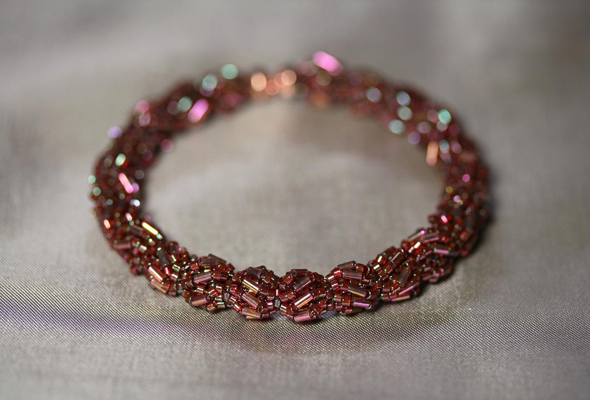 """Engage"" Garnet Puff Memory Wire Bracelet"