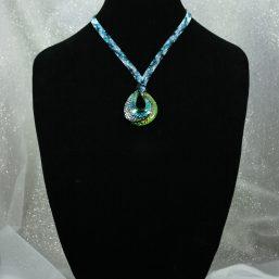 Teal/Black Swirl Statement Necklace 1