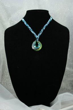 Teal/Black Swirl Statement Necklace