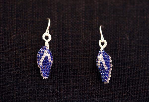 Blue-Silver Flip Flop Earrings