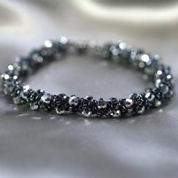 Graphite & Silver Crystal Bracelet 1