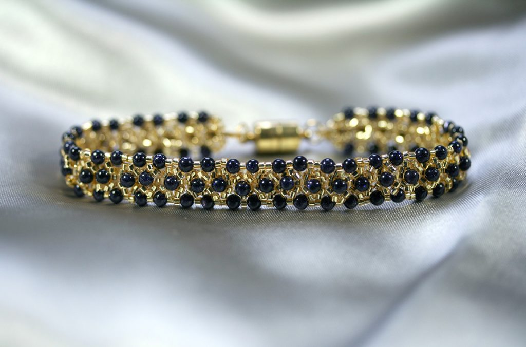 Gold and Blue Goldstone Bracelet