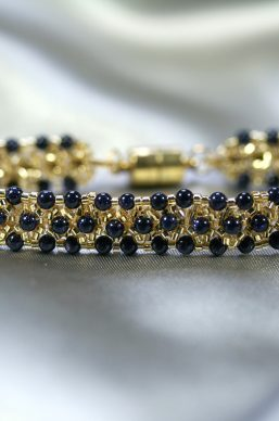 Gold & Blue Goldstone Bracelet