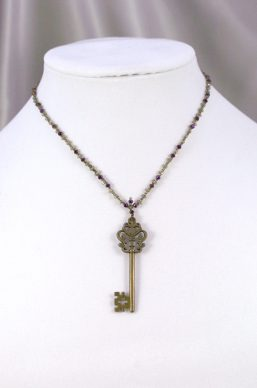 Champagne & Purple Key Necklace