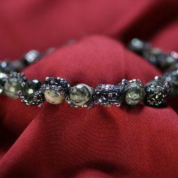 Spiderweb Jasper Beaded Ribbon Bracelet 1