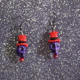 Red/Purple Top-Hat Skull Earrings 1