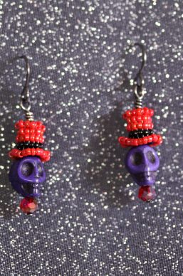 Red/Purple Top-Hat Skull Earrings