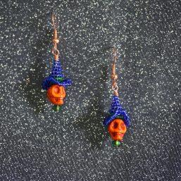 Orange Skull Blue Witch Hat Earrings 1