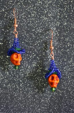 Orange Skull Blue Witch Hat Earrings