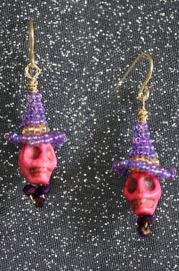 Pink Skull Purple Witch Hat Earrings