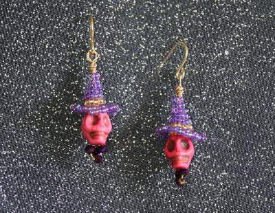 Pink Skull Purple Witch Hat Earrings 1