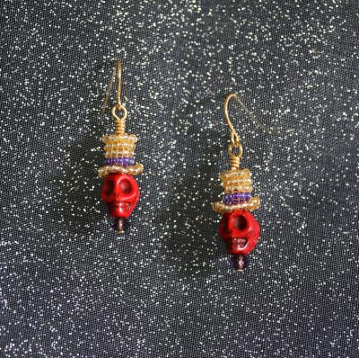 Red/Gold Top-Hat Skull Earrings 1