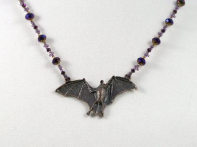 Purple-Gold Crystal Bat Necklace 2