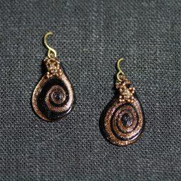 Brown & Gold Art Glass Earrings